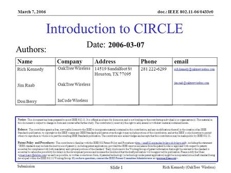 Doc.: IEEE 802.11-06/0433r0 Submission March 7, 2006 Rich Kennedy (OakTree Wireless) Slide 1 Introduction to CIRCLE Notice: This document has been prepared.