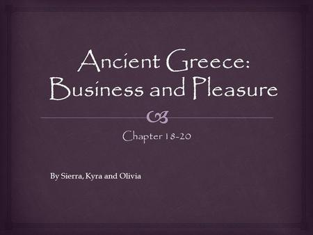 Chapter 18-20 By Sierra, Kyra and Olivia.  People love to be entertained, and Rome's leaders were expert in exploiting this human desire for their own.