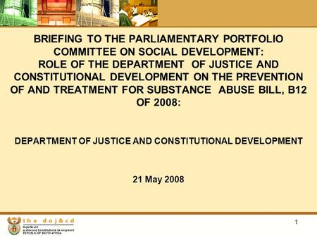 1 BRIEFING TO THE PARLIAMENTARY PORTFOLIO COMMITTEE ON SOCIAL DEVELOPMENT: ROLE OF THE DEPARTMENT OF JUSTICE AND CONSTITUTIONAL DEVELOPMENT ON THE PREVENTION.