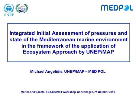 Integrated initial Assessment of pressures and state of the Mediterranean marine environment in the framework of the application of Ecosystem Approach.