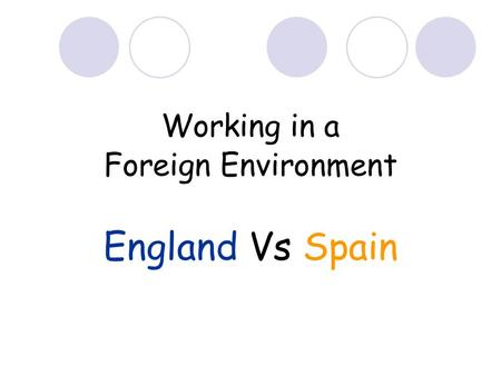 Working in a Foreign Environment England Vs Spain.