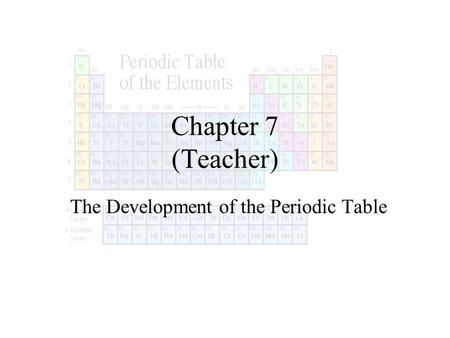Chapter 7 (Teacher) The Development of the Periodic Table.