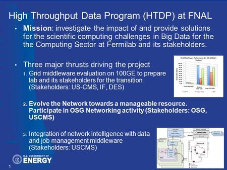 High Throughput Data Program (HTDP) at FNAL Mission: investigate the impact of and provide solutions for the scientific computing challenges in Big Data.