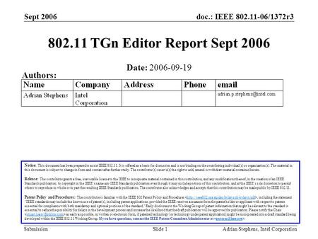 Doc.: IEEE 802.11-06/1372r3 Submission Sept 2006 Adrian Stephens, Intel CorporationSlide 1 802.11 TGn Editor Report Sept 2006 Notice: This document has.