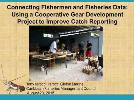 Tony Iarocci, Iarocci Global Marine Caribbean Fisheries Management Council August 20, 2015 Connecting Fishermen and Fisheries Data: Using a Cooperative.