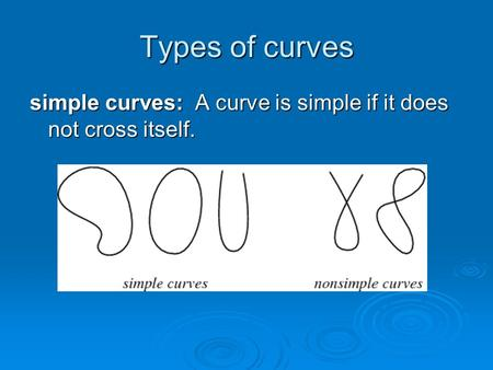 Types of curves simple curves: A curve is simple if it does not cross itself.