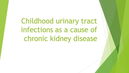 Childhood urinary tract infections as a cause of chronic kidney disease.