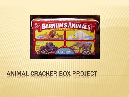  Your company has been selected to design a new animal cracker box.  Designs must be creative and eye catching, yet still meet the necessary requirements.
