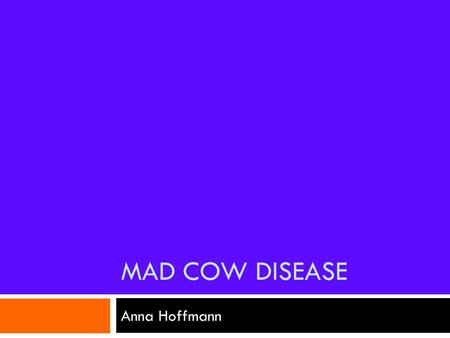 MAD COW DISEASE Anna Hoffmann. What is it?  Mad cow disease, or bovine spongiform encephalopathy (BSE), is a transmissible, slowly progressive fatal.