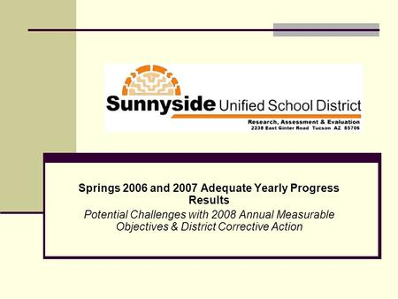 Springs 2006 and 2007 Adequate Yearly Progress Results Potential Challenges with 2008 Annual Measurable Objectives & District Corrective Action.