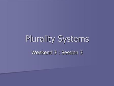Plurality Systems Weekend 3 : Session 3. Basic Principles Contestants are individual candidates Contestants are individual candidates Candidates run in.