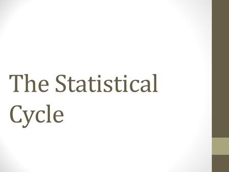 The Statistical Cycle. (1) Pose questions/ problems (2) Collect data >Populations and samples >Data collection tools : questionnaire, survey, recording.