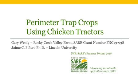 Perimeter Trap Crops Using Chicken Tractors Gary Wenig – Rocky Creek Valley Farm, SARE Grant Number FNC13-938 Jaime C. Piñero Ph.D. – Lincoln University.