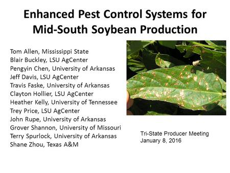 Enhanced Pest Control Systems for Mid-South Soybean Production Tom Allen, Mississippi State Blair Buckley, LSU AgCenter Pengyin Chen, University of Arkansas.