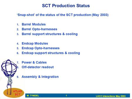 M. TYNDEL 1 LHCC Interactions May 2003 ATLAS SCT SCT Production Status 'Snap-shot' of the status of the SCT production (May 2003) 1. Barrel Modules 2.