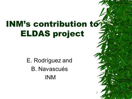 1 INM's contribution to ELDAS project E. Rodríguez and B. Navascués INM.