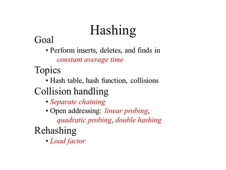 Hashing Goal Perform inserts, deletes, and finds in constant average time Topics Hash table, hash function, collisions Collision handling Separate chaining.