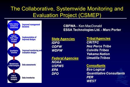 1 The Collaborative, Systemwide Monitoring and Evaluation Project (CSMEP) CBFWA – Ken MacDonald ESSA Technologies Ltd. - Marc Porter State Agencies IDFG.