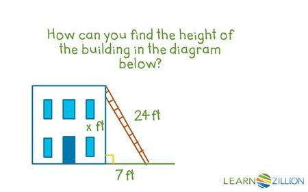How can you find the height of the building in the diagram below? 24 ft 7 ft x ft.