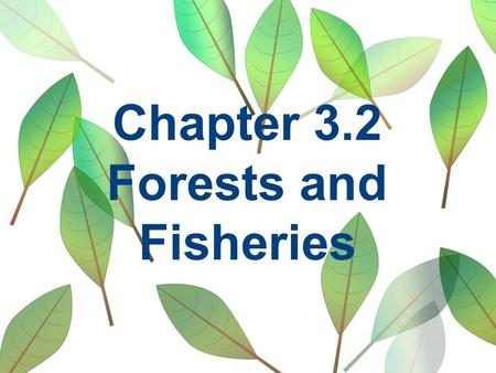 Chapter 3.2 Forests and Fisheries. Pre-Chapter Activity What happened to the Tuna?