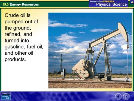 15.3 Energy Resources Crude oil is pumped out of the ground, refined, and turned into gasoline, fuel oil, and other oil products.