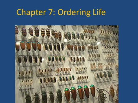 Chapter 7: Ordering Life. 7.1 Scientist develop methods for classifying living things.