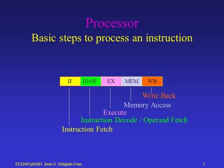 EE524/CptS561 Jose G. Delgado-Frias 1 Processor Basic steps to process an instruction IFID/OFEXMEMWB Instruction Fetch Instruction Decode / Operand Fetch.