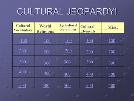 CULTURAL JEOPARDY! Cultural Vocabulary World Religions Agricultural Revolution Cultural Elements Misc. 100 200 300 400 500 100 200 300 400 500.