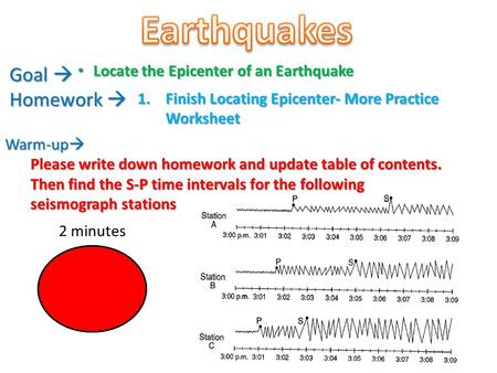 Earthquakes Goal  Homework  Locate the Epicenter of an Earthquake
