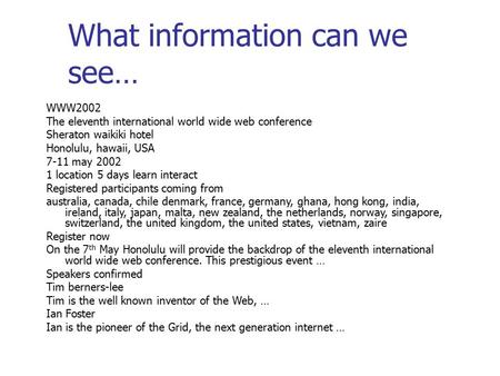 What information can we see… WWW2002 The eleventh international world wide web conference Sheraton waikiki hotel Honolulu, hawaii, USA 7-11 may 2002 1.