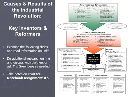 Causes & Results of the Industrial Revolution: Key Inventors & Reformers Examine the following slides and read information on links Do additional research.