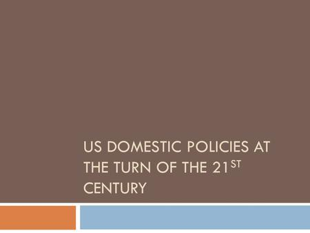 US DOMESTIC POLICIES AT THE TURN OF THE 21 ST CENTURY.