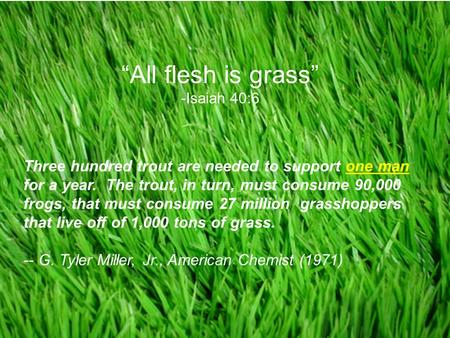"Copyright © 2008 Pearson Education, Inc., publishing as Pearson Benjamin Cummings ++++++++++++++++++++++++++ +++++++++++++++++ ""All flesh is grass"" -Isaiah."