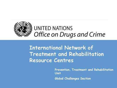 International Network of Treatment and Rehabilitation Resource Centres Prevention, Treatment and Rehabilitation Unit Global Challenges Section.