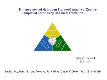 Enhancement of Hydrogen Storage Capacity of Zeolite- Templated Carbons by Chemical Activation Muthukrishnan. I 22.01.2011 Sevilla, M.; Alam, N.; and Mokaya,