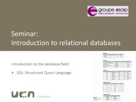 FEN 2015-08-311 Introduction to the database field:  SQL: Structured Query Language Seminar: Introduction to relational databases.