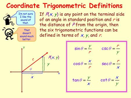 Coordinate Trigonometric Definitions If P(x, y) is any point on the terminal side of an angle in standard position and r is the distance of P from the.