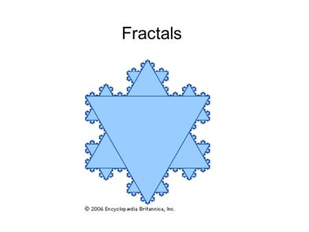 Fractals. What do we mean by dimension? Consider what happens when you divide a line segment in two on a figure. How many smaller versions do you get?