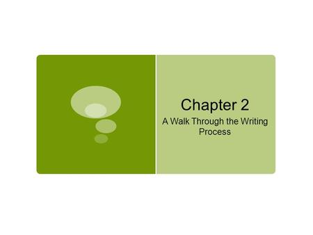 Chapter 2 A Walk Through the Writing Process. The Process of Writing  Prewriting is the stage in which you explore possible topics, choose a topic, and.