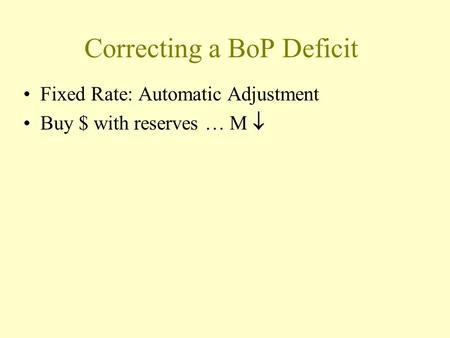Correcting a BoP Deficit Fixed Rate: Automatic Adjustment Buy $ with reserves … M 