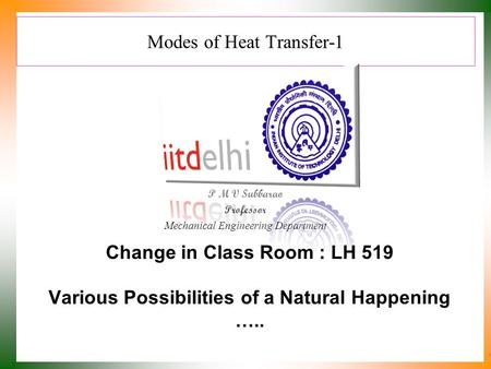 Modes of Heat Transfer-1 P M V Subbarao Professor Mechanical Engineering Department Various Possibilities of a Natural Happening ….. Change in Class Room.