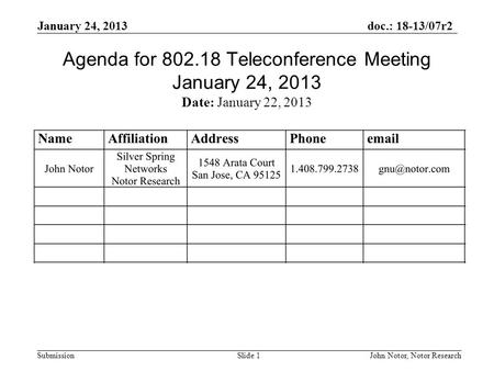 Doc.: 18-13/07r2 Submission January 24, 2013 John Notor, Notor Research Slide 1 Agenda for 802.18 Teleconference Meeting January 24, 2013 Date: January.