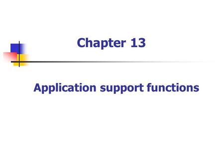 Application support functions Chapter 13. 13.1 Introduction ASN.1 Security Data encryption Nonrepudiation Authentication Public key certification authorities.