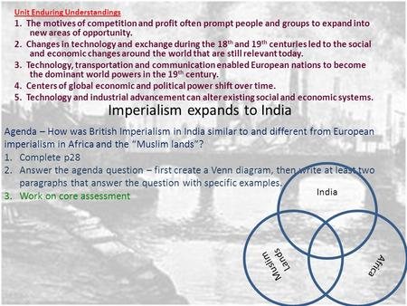 Imperialism expands to India Unit Enduring Understandings 1. The motives of competition and profit often prompt people and groups to expand into new areas.