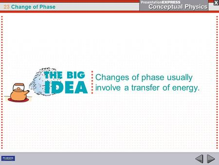 23 Change of Phase Changes of phase usually involve a transfer of energy.