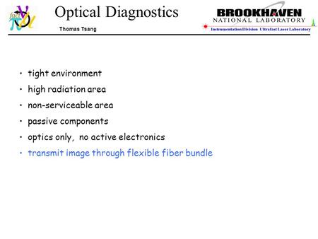 Optical Diagnostics Thomas Tsang tight environment high radiation area non-serviceable area passive components optics only, no active electronics transmit.