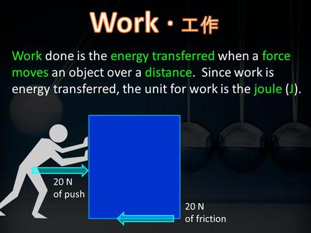 Work done is the energy transferred when a force moves an object over a distance. Since work is energy transferred, the unit for work is the joule (J).