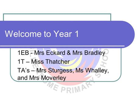 Welcome to Year 1 1EB - Mrs Eckard & Mrs Bradley 1T – Miss Thatcher TA's – Mrs Sturgess, Ms Whalley, and Mrs Moverley.