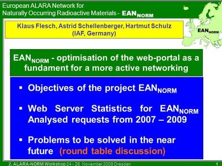 European ALARA Network for Naturally Occurring Radioactive Materials - EAN NORM 2. ALARA-NORM Workshop 24 - 26 November 2009 Dresden 1 EAN NORM - optimisation.
