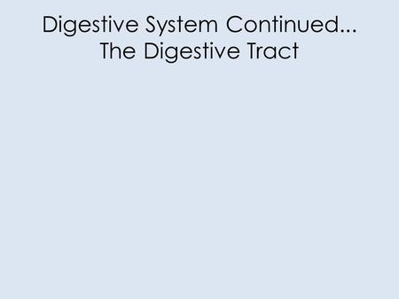 Digestive System Continued... The Digestive Tract.